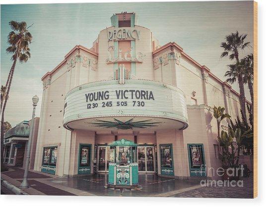 Regency Lido Theater Newport Beach Picture Wood Print by Paul Velgos