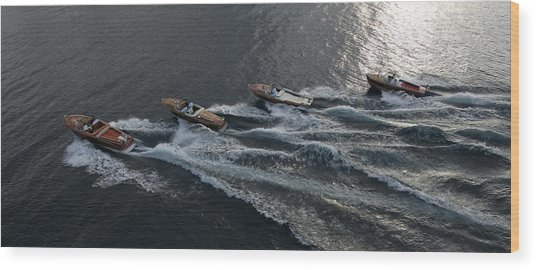 Riva Runabouts Aerial Wood Print