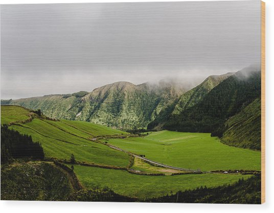 Road Over Valley Wood Print