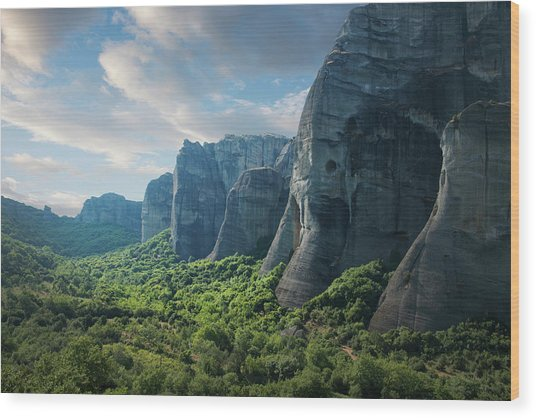 Rock Formations In The Meteora, Greece Wood Print