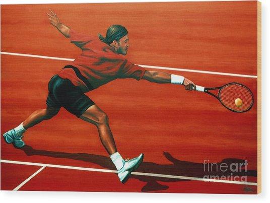 Roger Federer At Roland Garros Wood Print