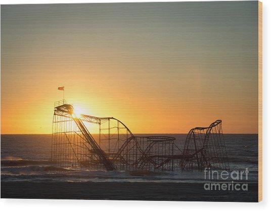 Roller Coaster Sunrise Wood Print