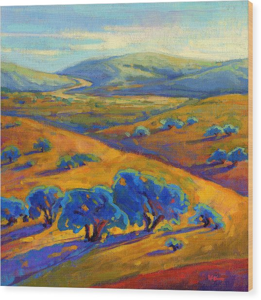 Wood Print featuring the painting Rolling Hills 1 by Konnie Kim