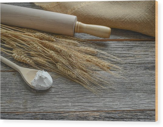 Rolling Pin With Wheat And Spoon With Flour Wood Print