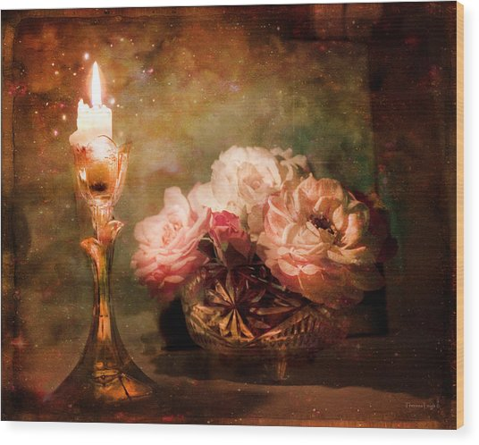 Roses By Candlelight Wood Print