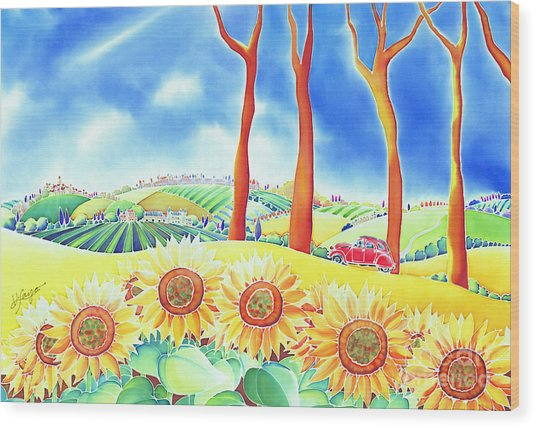 Wood Print featuring the painting Route Of Sun Flowers by Hisayo Ohta