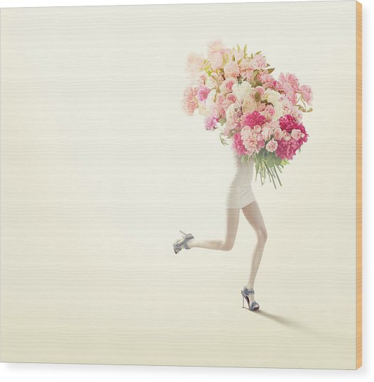 Running Women With Giant Bunch Of Flowers Wood Print by Vizerskaya