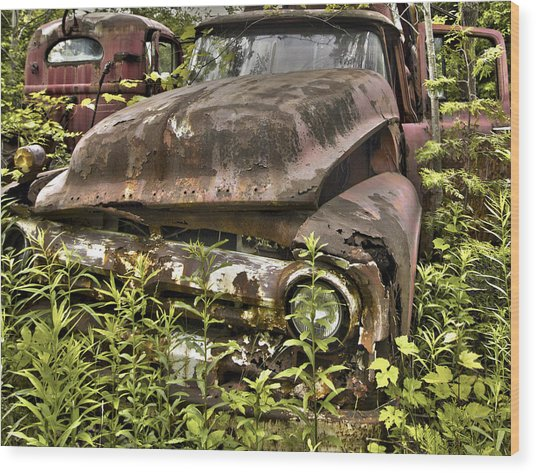 Rusty And Crusty Truck Wood Print