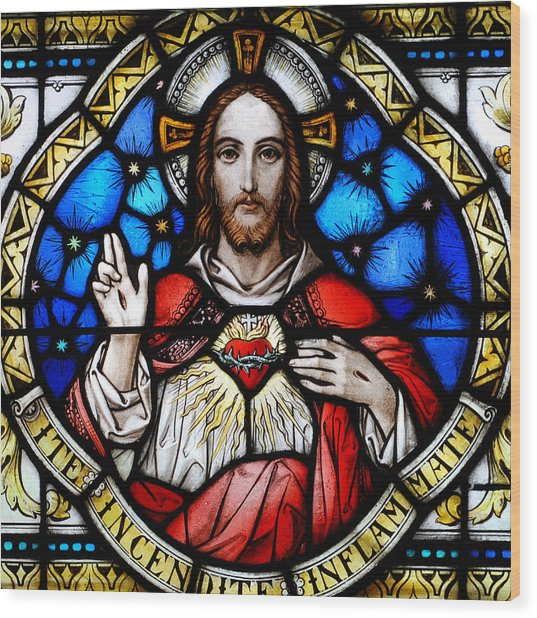 Sacred Heart Of Jesus In Stained Glass Wood Print