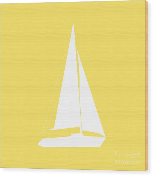 Sailboat In Yellow And White Wood Print