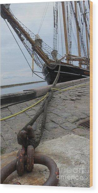 Sailship In Marstal Wood Print