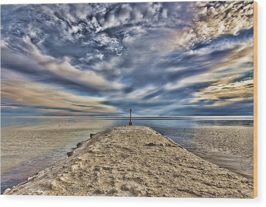 Salt Pier Salton Sea Wood Print