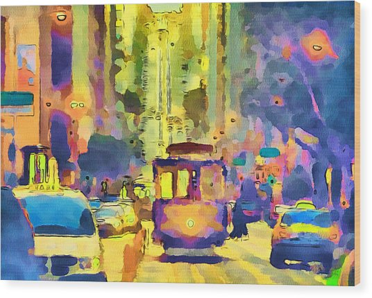 San Francisco Trams 12 Wood Print by Yury Malkov