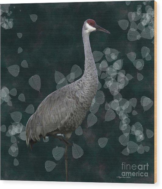 Sandhill Crane On Leaves Wood Print
