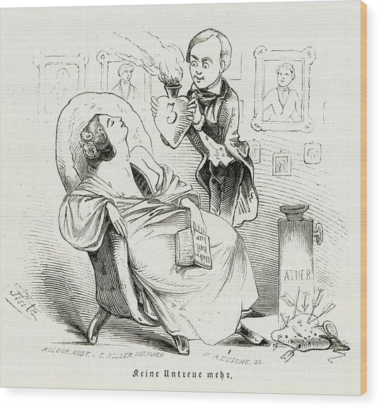 Satireresults Of Ether - Surgery Wood Print by Mary Evans Picture Library