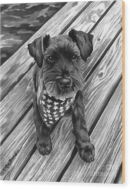 Ragnar Black Dog Wood Print