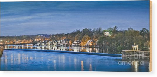 Schuylkill River  Boathouse Row Lit At Night  Wood Print
