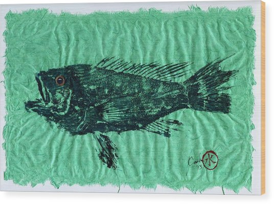 Sea Bass On Aegean Green Thai Unryu Paper Wood Print