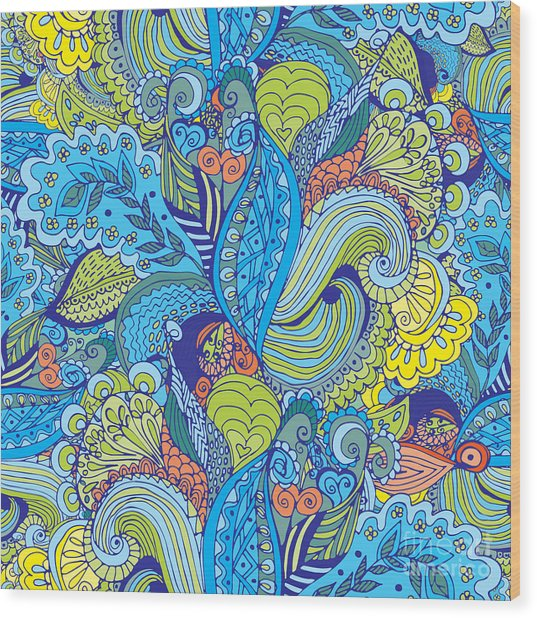 Seamless Abstract Hand-drawn Floral Wood Print