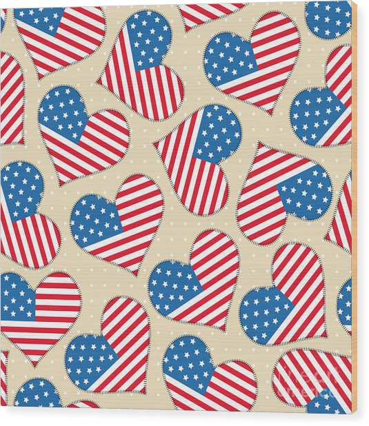 Seamless Pattern For 4th Of July Wood Print
