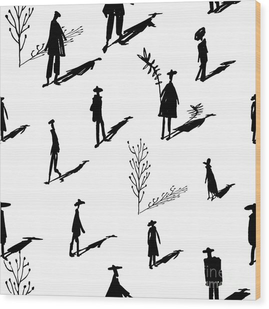 Seamless Pattern Of Trees And People Wood Print