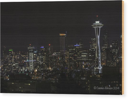 Seattle Skyline 1 Wood Print