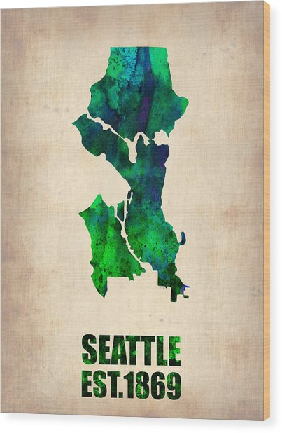 Seattle Watercolor Map Wood Print