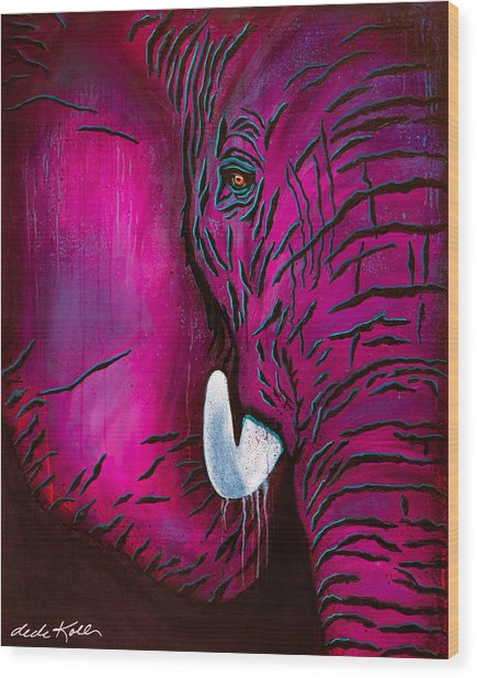 Wood Print featuring the painting Seeing Pink Elephants by Dede Koll
