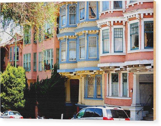 Sf Rowhouses Wood Print by Mamie Gunning