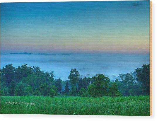 Shaconage Land Of The Blue Smoke Wood Print by Paul Herrmann
