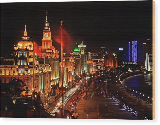 Shanghai, China Bund At Night Cars Wood Print by William Perry