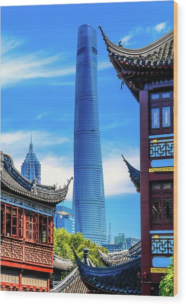 Shanghai Tower, Second Tallest Building Wood Print by William Perry