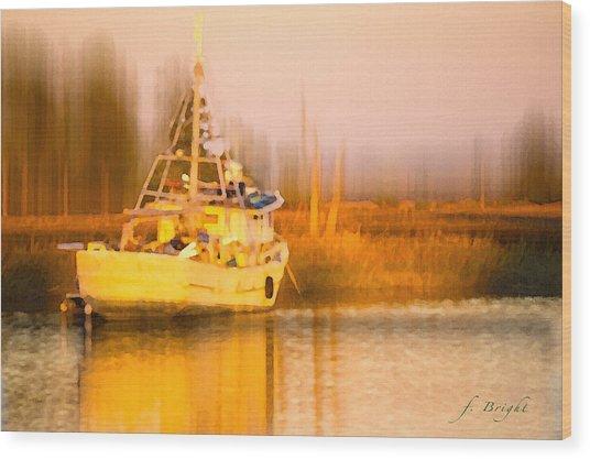 Ship At Dusk  Wood Print