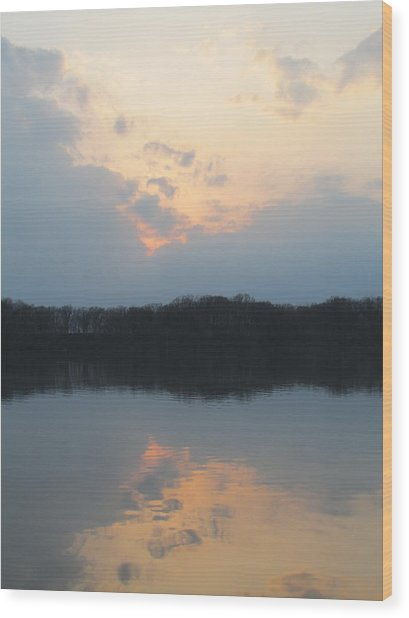 Silver Lake Golden Skies Wood Print by Jaime Neo