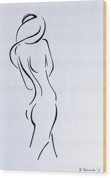 Sketch Of A Nude Woman Wood Print by Anna Androsovski