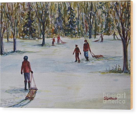 Sledding Wood Print by Joyce A Guariglia