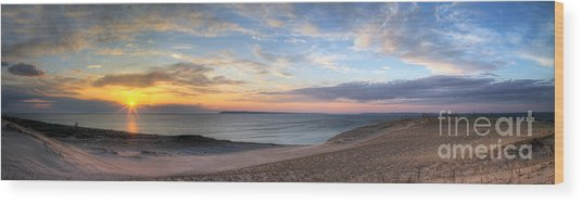 Sleeping Bear Dunes Sunset Panorama Wood Print by Twenty Two North Photography