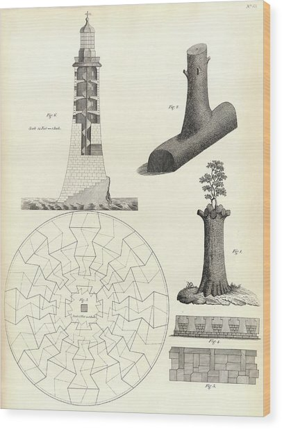 Smeaton's Tower Wood Print by Royal Institution Of Great Britain