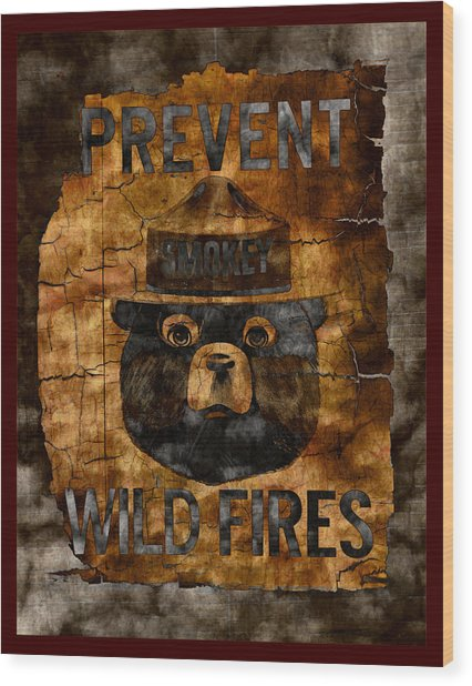 Smokey The Bear Only You Can Prevent Wild Fires Wood Print