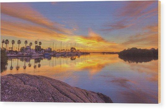 Smyrna Yacht Club Sunrise II Wood Print by Danny Mongosa