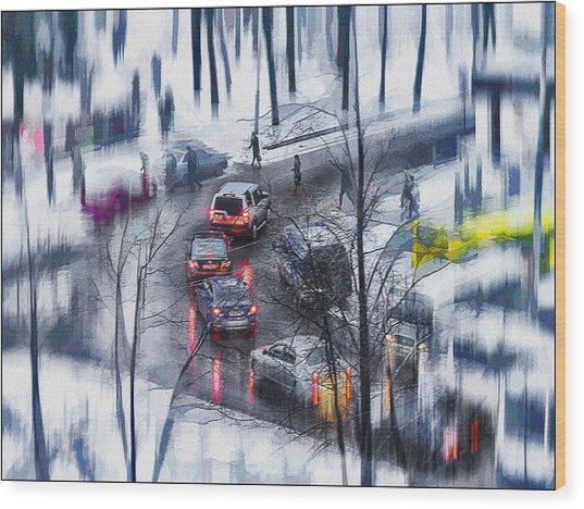 Snow Fall Wood Print