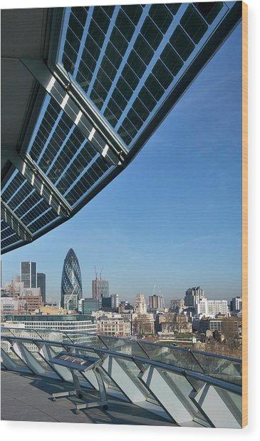 Solar Panels On City Hall Wood Print