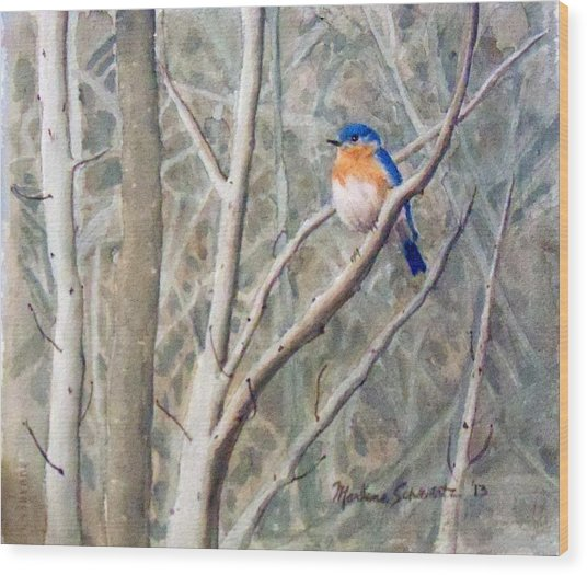 Something Blue Wood Print