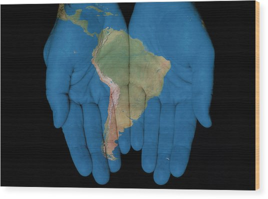 South America In Our Hands Wood Print