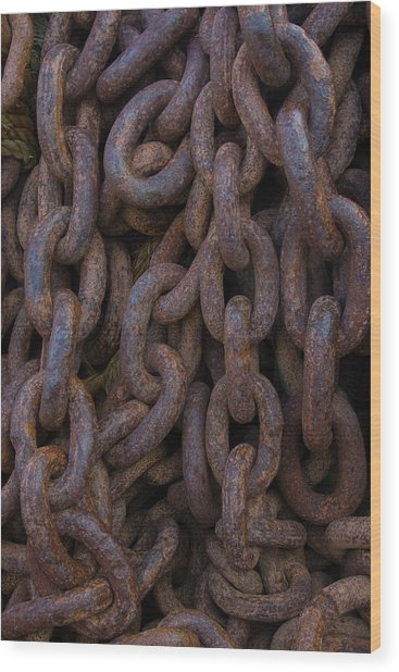South Georgia Giant Rusted Chains Using Wood Print by Inger Hogstrom