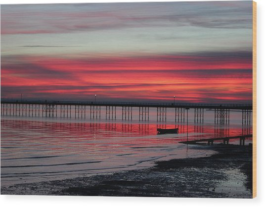 Southend Pier Sunset Wood Print