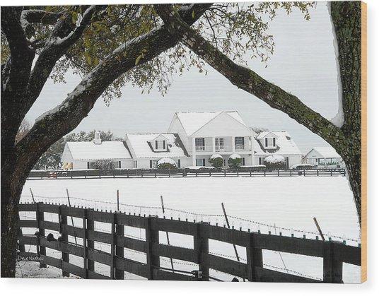 Southfork Ranch In Winter Wood Print