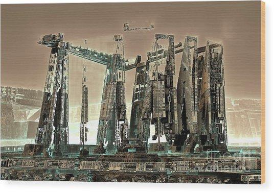Spaceport Wood Print by Bernard MICHEL
