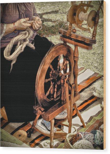 Spinning Wool Wood Print