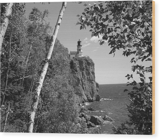 Split Rock Black And White Wood Print